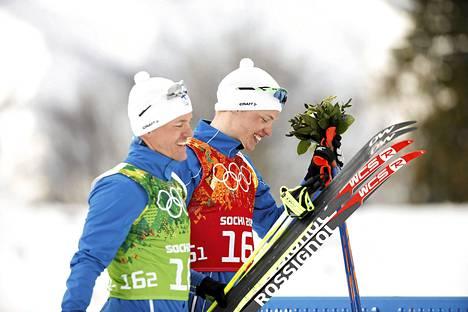 Sami Jauhojärvi ja Iivo Niskanen voittivat viime talvena parisprintin olympiakultaa Sotšissa.