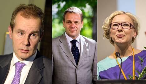 Sdp:n eduskuntaryhmän puheenjohtaja Jouni Backman, elinkeinoministeri Jan Vapaavuori ja vasemmistoliiton varapuheenjohtaja Aino-Kaisa Pekonen.