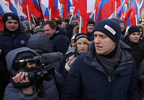 Aleksei Navalnyi opposition mielenosoituksessa vuonna 2018 Moskovassa.
