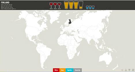 Alkoholikartta kertoo, mitä maailmalla juodaan ja kuinka paljon. Kuvankaappaus Ghost in the Data -nettisivulta.