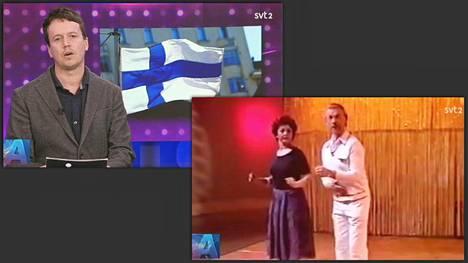 SVT:n kulttuuriuutisissa uutinen Suomen menestyksestä YK:n onnellisuusvertailussa kuvitettiin edesmenneellä tanssiopettaja Åke Blomqvistilla.