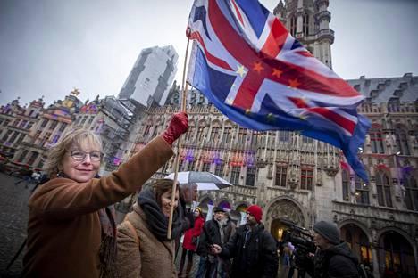 Deirdre Thomas osallistui torstaina Brysselin kaupungin brexit-jäähyväisiin.