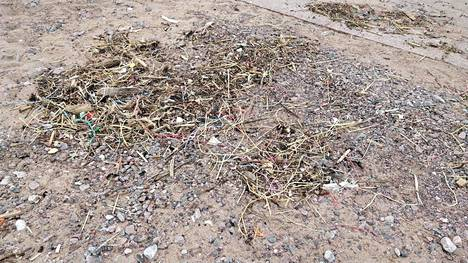 Eiran rannalle ajautui etelätuulten mukana kasoittain muoviroskaa rakennustyömailta.
