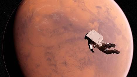 Taiteilijan näkemys astronautista Marsin kiertoradalla.