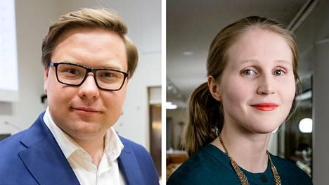 Kokoomuksen valtuustoryhmän puheenjohtaja Daniel Sazonov ja vihreiden valtuustoryhmän puheenjohtaja Reetta Vanhanen.