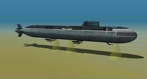 Onnettomuussukellusveneeksi on arvioitu Lošarik-tyypin alusta. Taiteilijan näkemys kyseisestä alustyypistä.