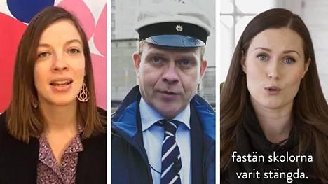 Vasemmisto Li Andersson, kokoomuksen Petteri Orpo ja sdp:n Sanna Marin pitivät vappupuheensa verkon välityksellä.