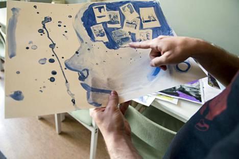 Taideryhmässä tekemässään maalauksessa Vimma on käsitellyt muun muassa koulukiusaamista, äitinsä alkoholismia, unettomuutta ja aikaa nuorisokodissa.