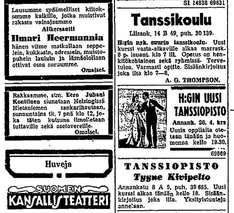 Tanssikoulujen ilmoituksia Helsingin Sanomissa 6. marraskuuta 1943.