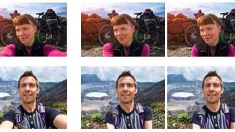 Tekoäly tuottaa selfiestä (vasemmalla) useita kuvia, joissa käsien paikkaa on muutettu. Kuvassa viiden eri korjauskierroksen tuloksia.