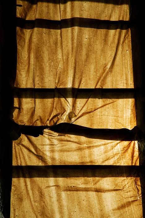 (06.03) Talkoolaiset ovat kiitollisia jätesäkeistä, jotka himmentävät Kitisenrannan koulun ikkunoita edes vähän.