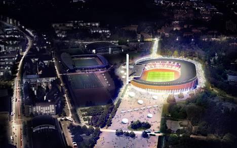 Havainnekuva kokonaan uusitusta Olympiastadionista ja sen ympäristöstä valmiina vuonna 2019.