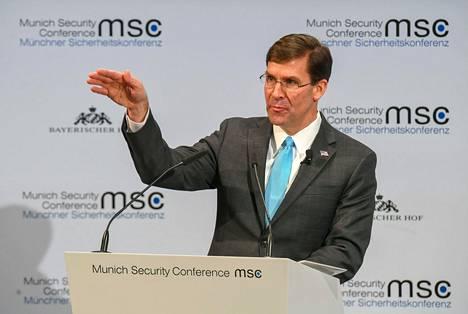 Yhdysvaltain puolustusministeri Mark Esper puhui Münchenin turvallisuuskonferenssissa lauantaina.