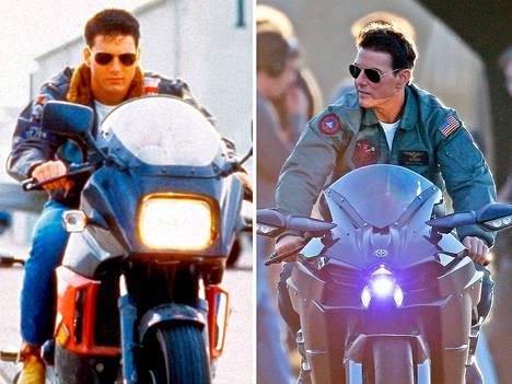 Tom Cruise 1986 (vas.) ja 2018 (oik.)