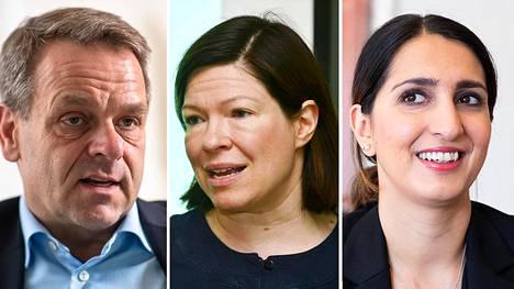 Jan Vapaavuori (kok), Anni Sinnemäki (vihr) ja Nasima Razmyar (sdp)