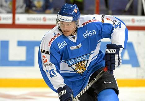 Petri Kontiola iski kolme maalia KHL-liigassa. Kuva on marraskuussa pelatusta Karjala-turnauksesta.