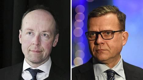Perussuomalaisten puheenjohtaja Jussi Halla-aho ja kokoomuksen puheenjohtaja Petteri Orpo.