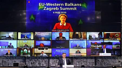 Kroatian pääministeri Andrej Plenković johti puhetta alkukuussa koronapandemian vuoksi videoneuvotteluna järjestetyssä EU:n ja Länsi-Balkanin maiden huippukokouksessa.