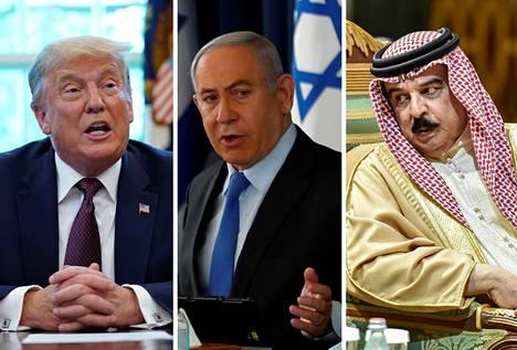 Yhdysvaltain presidentti Donald Trump, Israelin pääministeri Benjamin Netanjahu ja Bahrainin kuningas Isa Al Khalifa.