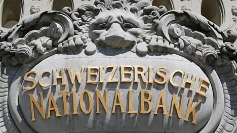 Yksityiskohta Sveitsin keskuspankin rakennuksesta Bernissä Sveitsissä.