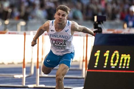 Elmo Lakka yleisurheilun EM-kisoissa Berliinissä 2018.
