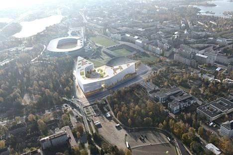 Helsinki Garden sijoittuu Olympiastadionin ja Helsingin jäähallin välimaastoon. Artikkelin havainnekuvat ovat uudesta, aiempaa matalammasta rakennelmasta.