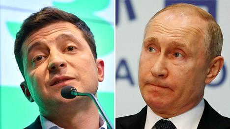 Ukrainan presidentinvaalit voittanut Volodymyr Zelensky (vas.) ja Venäjän presidentti Vladimir Putin.