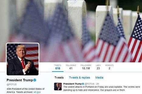 Presidentti Donald Trumpin tviitti Oregonin tapahtumista julkaistiin Potus-tilillä.