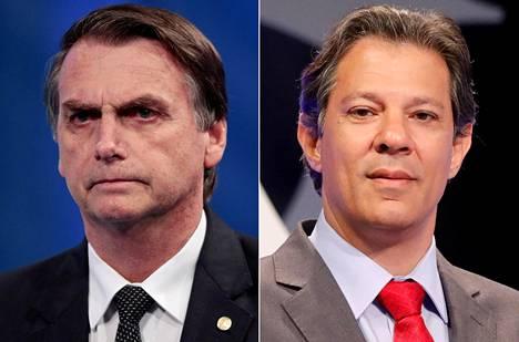 Mielipidekyselyjen mukaan Jair Bolsonaro (vas.) voittaisi Brasilian vaalien ensimmäisen kierroksen sunnuntaina mutta Fernando Haddad kirisi ohi toisella kierroksella kolme viikkoa myöhemmin. Asetelma on kuitenkin arvaamaton.