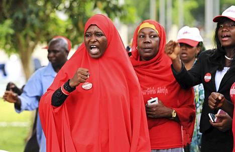 Siepattujen vapauttamiseksi on kampanjoitu Nigeriassa taukoamatta. Kuva mielenosoituksesta Abujasta viime viikolta.