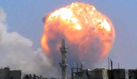 Räjähdys Wadi al-Zahabissa Homsissa Keski-Syyriassa torstaina.