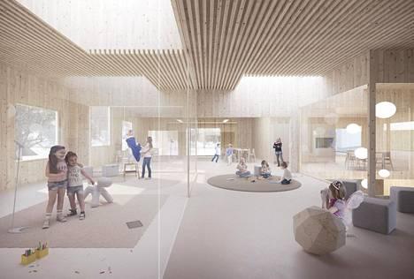 Hopealaakson päiväkoti rakennetaan Kruunuvuorenrantaan Helsingissä. – Havainnekuva.