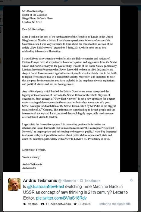 Kuvakaappaus Latvian Lontoon suurlähettilään Andris TeikmaniksenTwitter-päivityksestä, jossa hän julkaisi Guardianin päätoimittajalle lähettämänsä kirjeen.
