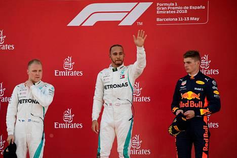 Valtteri Bottas ajoi toiseksi Barcelonassa Lewis Hamilton jälkeen. Max Verstappen oli kolmas.