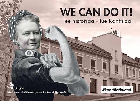 Minna Canthin talo -yhdistyksen uusi kampanjakortti. Lataamalla ilmaisen Arilyn-sovelluksen kortista paljastuu video, jossa kerrotaan Kanttilan kunnostuksesta.
