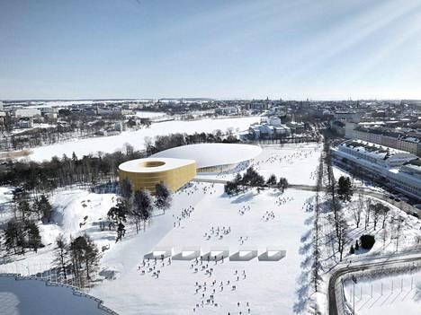 HIFK:n jäähallihankkeen aiempi versio, jossa areenakompleksi olisi sijoittunut Mäntymäen kentälle.