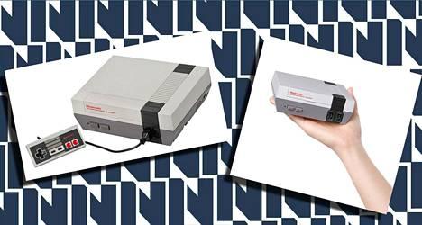 Vasemmalla alkuperäinen 8-bittinen NES, oikealla Nintendon uusi mini-NES.