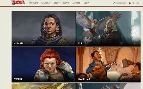Dungeons & Dragonsin sääntökirjassa esitellään erilaisia pelattavia lajeja.