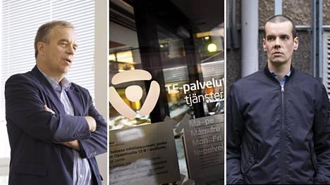 Uudenmaan TE-toimiston johtaja Jarmo Ukkonen (vas.) sanoo, että Ossi Nymanin (oik.) työmarkkinatuen katkaisemista harkitaan.