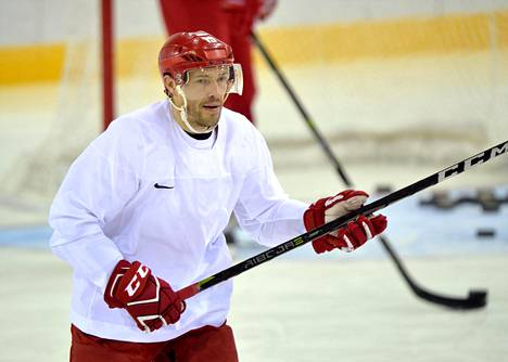 Pavel Datsjuk OAR:n (venäläisten olympiajoukkueen) harjoituksissa.