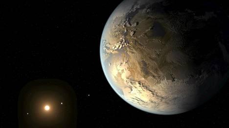 Kepler-186f on ensimmäinen maapallon kokoinen planeetta, joka on löydetty kiertämästä emotähteään elämänvyöhykkeeltä. Kuva on taiteilijan näkemys planeetasta.