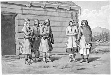 Savolaisia työvaatteissaan 1800-luvun alun maalauksessa. Työpäähineenä oli keskiajalta periytyvä patalakki. Kirjan kuvitusta.