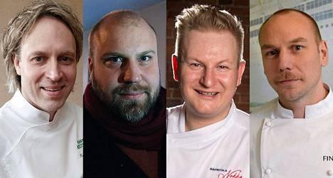 Kokit Kari Aihinen (vas.), Antto Melasniemi, Ari Ruoho ja Tommi Tuominen kertovat, miten suhtautuvat ravintolassa käymiseen.