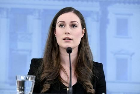 Pääministeri Sanna Marin hallituksen tiedotustilaisuudessa.