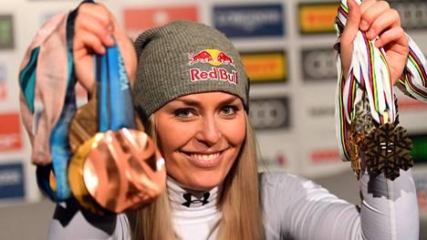 Lindsey Vonnilla on 11 arvokisamitalia ja 82 maailmancupin osakilpailuvoittoa.