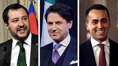 Äärioikeistolaisen Lega-puolueen puheenjohtaja Matteo Salvini (vas.), uudeksi pääministeriksi esitetty oikeustieteen professori Giuseppe Conte ja populistisen Viiden tähden liike -puolueen puheenjohtaja Luigi Di Maio.