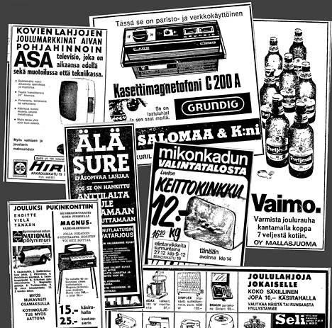 Lahjamainoksia Helsingin Sanomissa joulukuussa 1970.