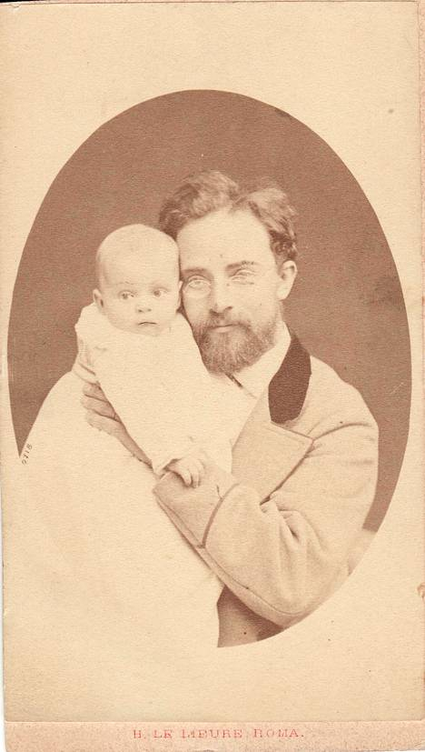 Walter Runeberg ja Nino-poika vuonna 1875.