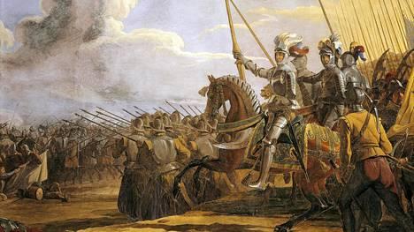 Johan Gustaf Sandbergin 1830-luvulla maalaama, Uppsalan tuomiokirkossa oleva teos Kustaa Vaasasta komentamassa joukkojaan.