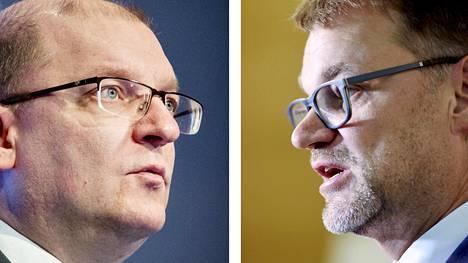 Teollisuusliiton puheenjohtaja Riku Aalto ja pääministeri Juha Sipilä.